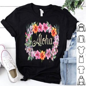 Aloha Flowers Hawaiian Hawaii Beach Luau Party shirt
