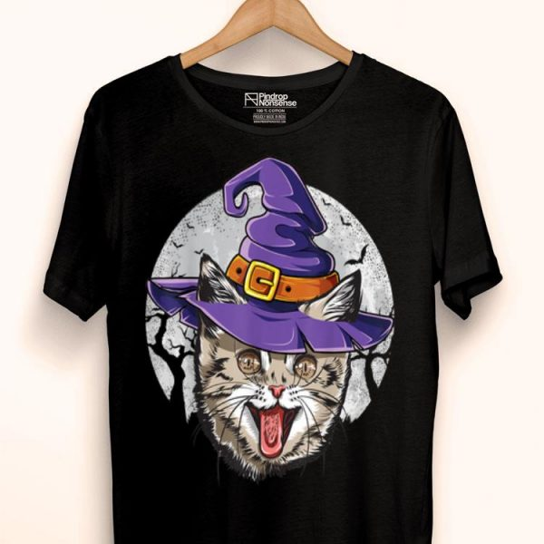 Cat Witch Hat Halloween Cats Lover shirt