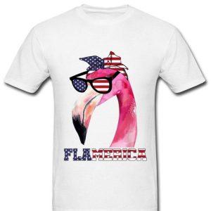 Flamingo 4th Of July Flamerica Merica Flag shirt