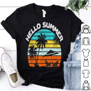 Hello Summer Retro Sunset Beach Chairs Fun shirt