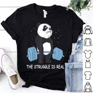 Panda The Struggle Is Real Bear Deadlift Funny Gym shirt