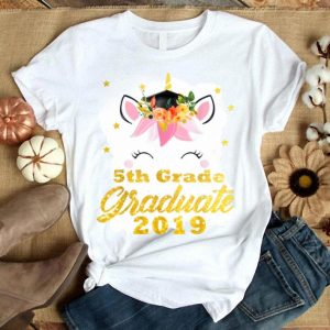 Unicorn Face Flower Graduation 5Th Grade S shirt