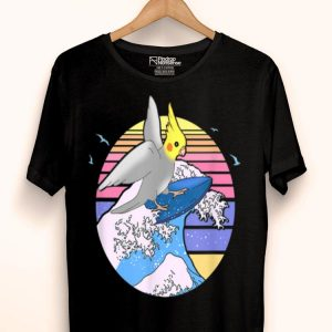 Aesthetic Surfing Cockatiel Doodle Cute Birb Parrot shirt