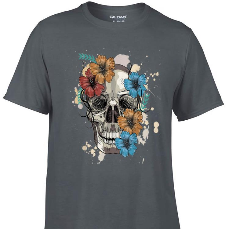 Awesome Colorful Skull and Flowers shirt 1 - Awesome Colorful Skull and Flowers shirt