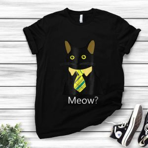 Hot Black Business Cat Kitten with Yellow Tie Meow shirt