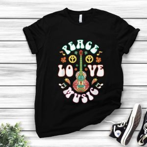 Hot Peace Love Music Guitar Hippies Retro shirt