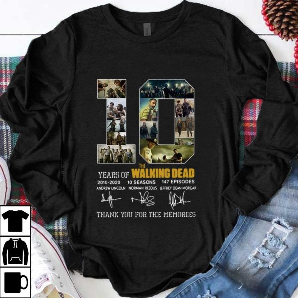 Nice 10 Years Of The Walking Dead Thank You For The Memories Signature shirt