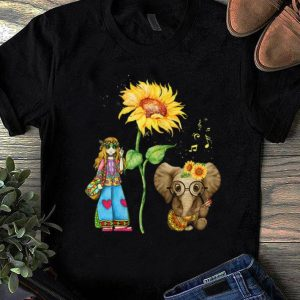 Nice Hippie Girl Sunflower Elephant Guitar shirt