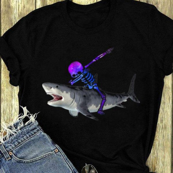 Nice Men Boy Colorful Space Skeleton Riding Shark Halloween shirt