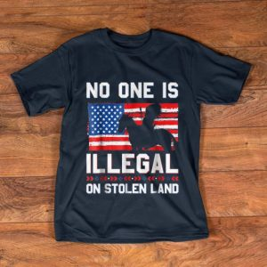 Official No One Is Illegal On Stolen Land Native Americans American Flag shirt