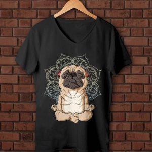 Original Pug Yoga Spiritual Meditation Mandala Let It Be shirt