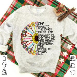 Original She Dance To The Song In Her Head Speaks With The Rhythm Of Heart Heart Guitar Hippie Sunflower shirt