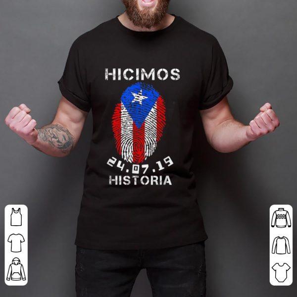 Pretty Hicimos Historia Ricky Renuncia Bandera Negra Puerto Rico Flag Fingerprint shirt