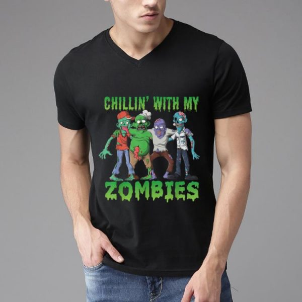 Top Chillin With My Zombies Funny Halloween Costume Zombie