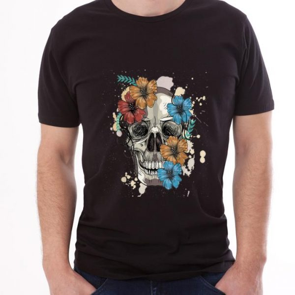 Top Colorful Skull and Flowers shirt