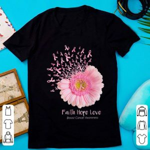 Top Faith Hope Love Breast Cancer Awareness Pink Daisy Flower shirt