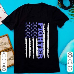 Top Fighter Cancer Awareness American Flag shirt