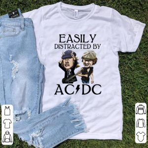 Awesome Angus Young And Brian Johnson Easily Distracted By AC DC shirt