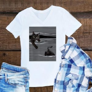 Awesome Black Cat Under The Curtains shirt