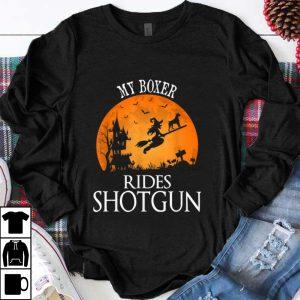 Awesome Boxer Rides Shotgun Dog Lover Halloween Party Gift shirt