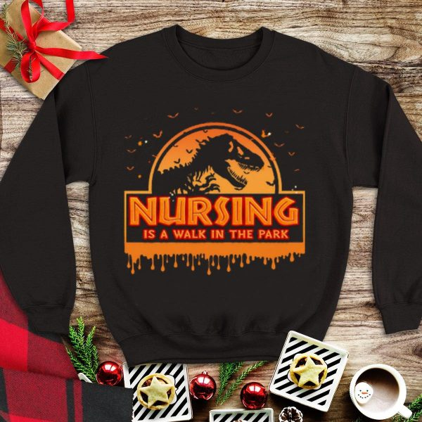 Awesome Halloween Jurassic Park Nursing Is A Walk In The Park shirt