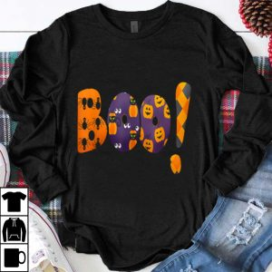 Boo Halloween With Black Cat Funny Pumpkin And Spiders shirt
