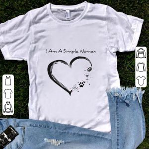 Funny I am a simple woman I love football wine paw dog and flip flop shirt