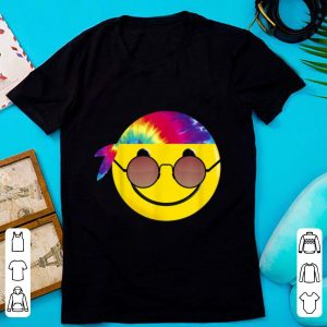 Hot Hippie Tie Dye Emoji Sunglasses Headband Funny shirt