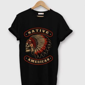 Nice Native American Indians Chief Skull War Bonnet Feather Hat shirt