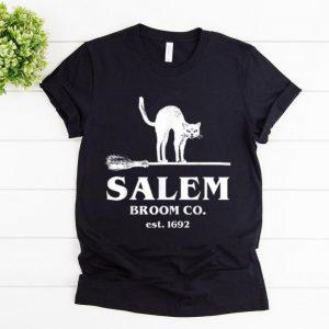 Official Salem Broom Company Women, Halloween Black Cat Witch shirt