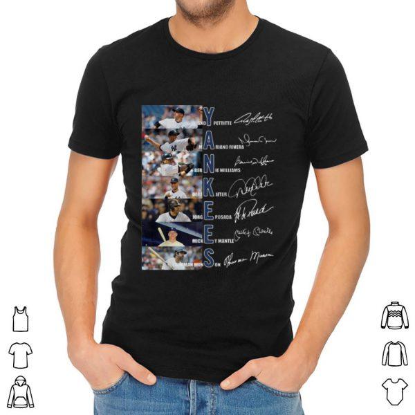 Official Yankees Derek Jeter Jorge Posada Mickey Mantle Signatures shirt