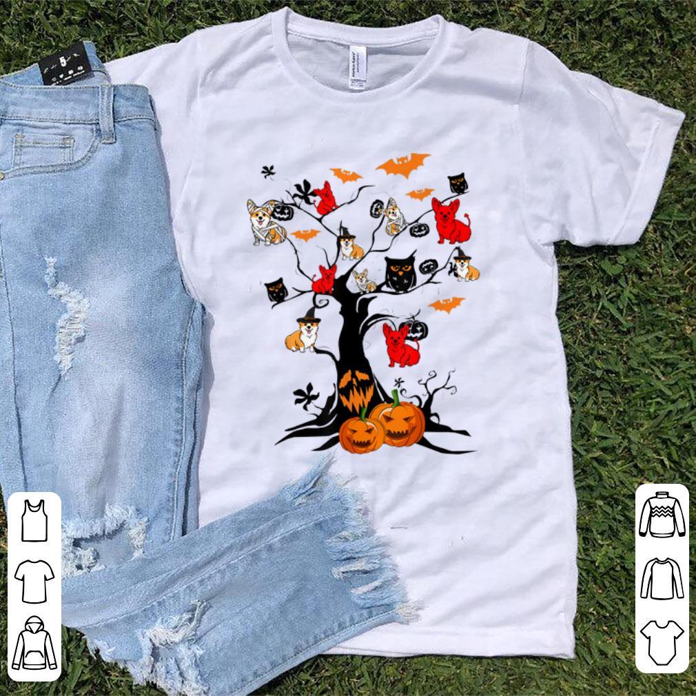 Original Tree Pumpkin Corgi Dog On Halloween Tree Dog Lover shirt 1 - Original Tree Pumpkin Corgi Dog On Halloween Tree Dog Lover shirt