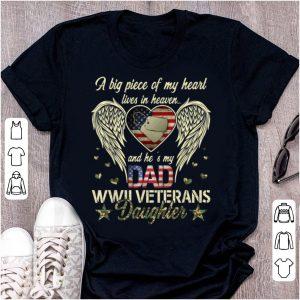 Original WWII Veterans Daughter Heart Live In Heaven American Flag shirt