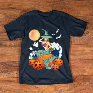 Premium Happy Halloween Pumpkin Ghost Mermaid Witch Scary Moon shirt