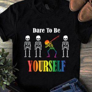 Premium Lgbt Dabbing Skeleton Halloween Dare To Be Yourself shirt