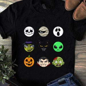 Premium Scary Faces Halloween Emoji Boys Girls Kids Gift shirt