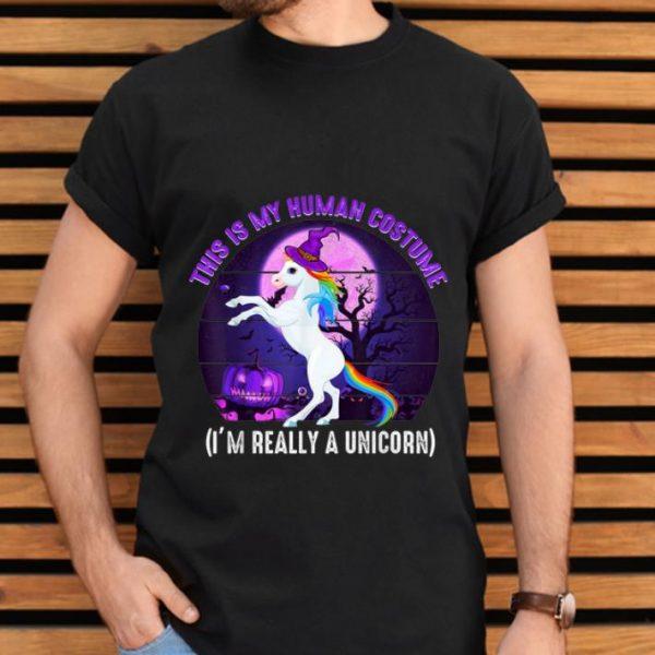Pretty This is My Human Costume-Funny Unicorn Halloween shirt