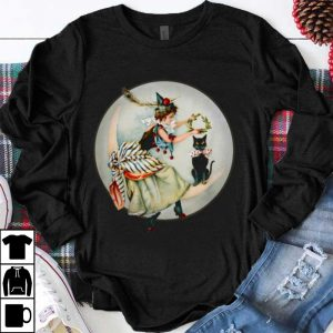 The Black Cat Magazine Vintage Halloween Woman And Cat shirt
