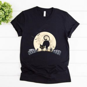 Top Black Cat Halloween Costume Full Moon Bats shirt
