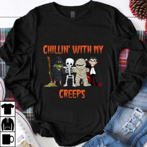 Top Chillin With My Creeps Vampire Halloween Skeleton Witch shirt