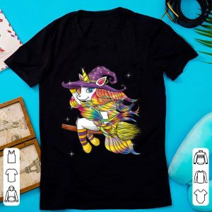 Top Funny Halloween Outfit Gift - Flying Unicorn Witch shirt