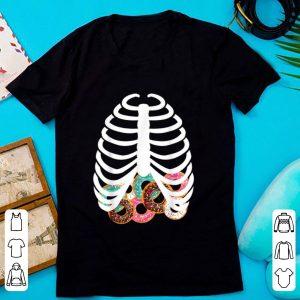 Top Halloween Adult Kids Food Costume Rib Cage Skeleton Donuts shirt