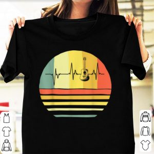 Top Vintage Acoustic Guitar Heartbeat Guitar Player shirt