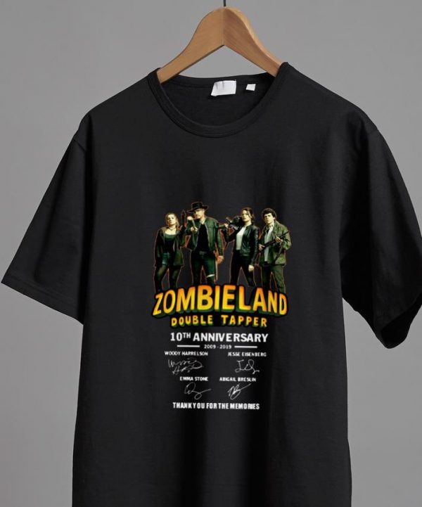 Awesome 10th Anniversary Zombieland Double Tapper Thank You For The Memories Signatures shirt