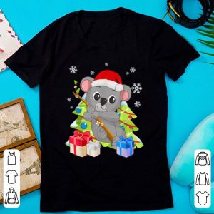 Awesome Cute Koala Bear Santa Christmas Gift with Christmas Trees shirt