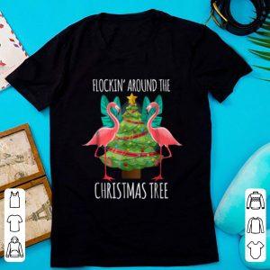 Awesome Flockin' Around The Christmas Tree Flamingo shirt