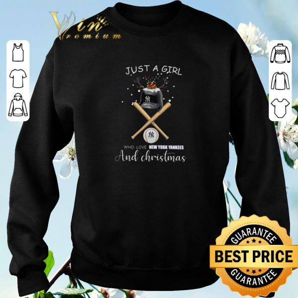 Awesome Just a girl who loves New York Yankees and Christmas shirt sweater