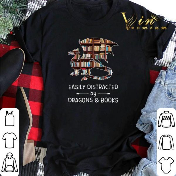 Easily distracted by dragons and books shirt sweater