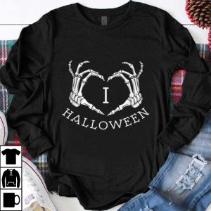 Hot I love Halloween skeleton heart, October fall shirt