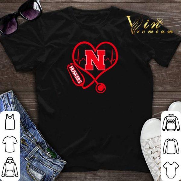 Love Nebraska Cornhuskers Stethoscope Heartbeat nurse shirt sweater